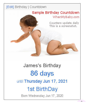 Birthday Countdown shows how long until birthday, and how old person will be.