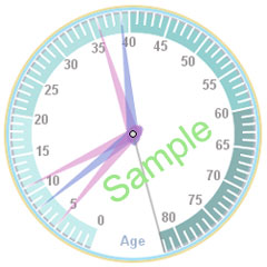 Sample Family Age Clock showing mom, dad, and their 3 kids